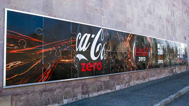 Puzzle-like Decal Printed on an Opaque Vinyl for Coca-Cola