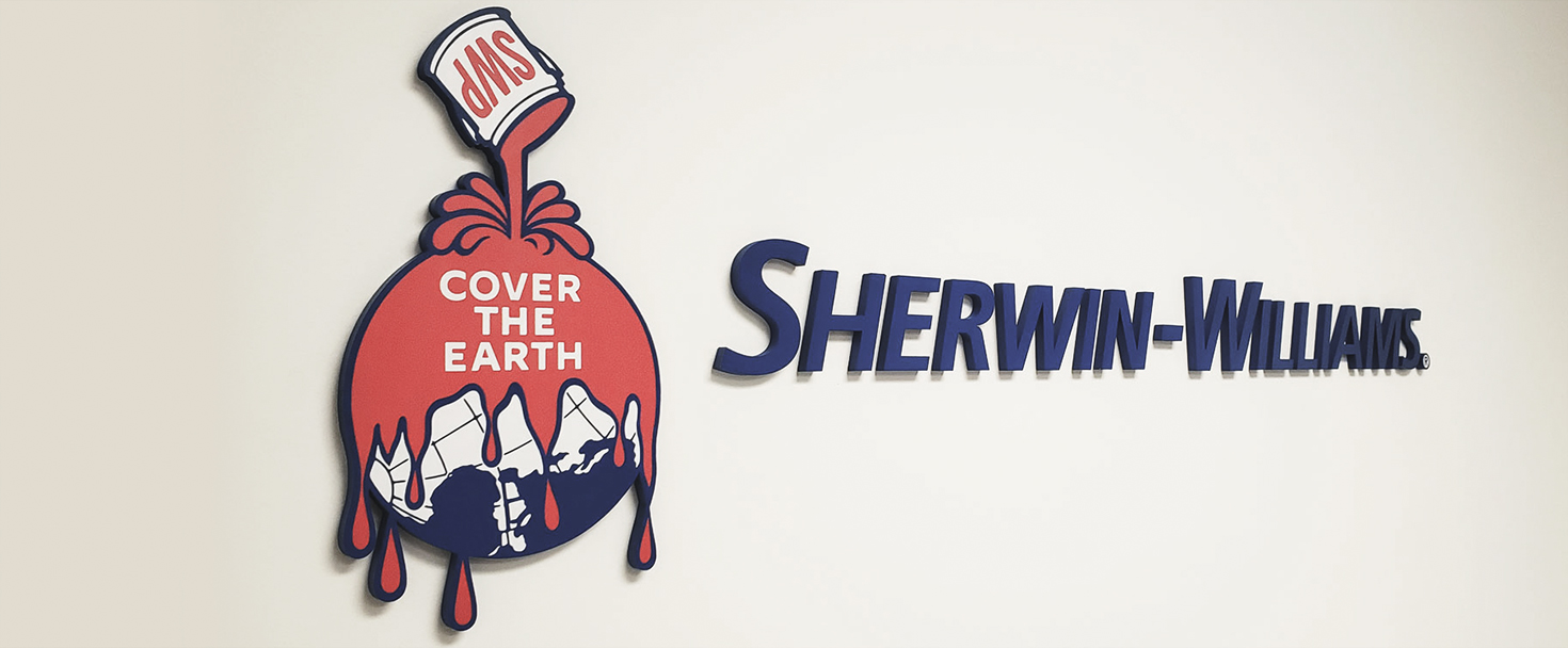 Sherwin Williams 3D interior signage displaying the name and logo of the company made of acrylic for indoor branding