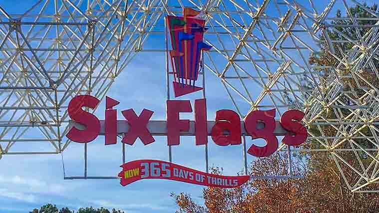 Six Flags Acrylic Sign