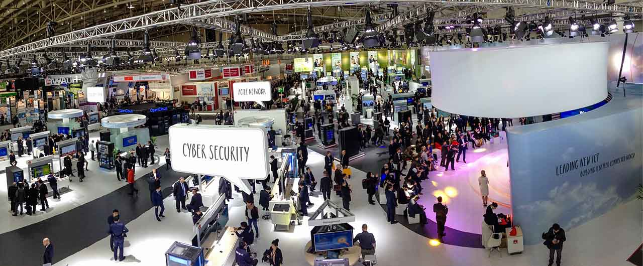 Cyber Security trade show display with white background