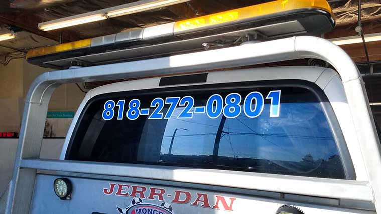 Jerr Dan's Vehicle Wrap Printed on an Opaque Vinyl