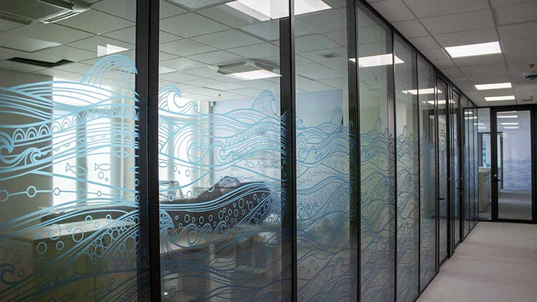 Window Decals with the blue waves for office branding