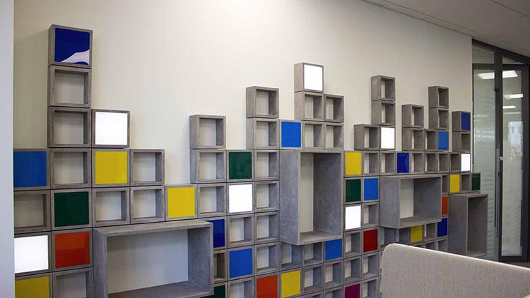 Wooden Office Interior Signs with colorful Acrylic cubes