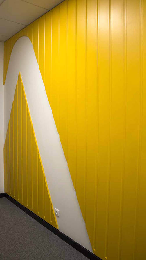 Beautiful Yellow Wooden Interior Sign for office branding