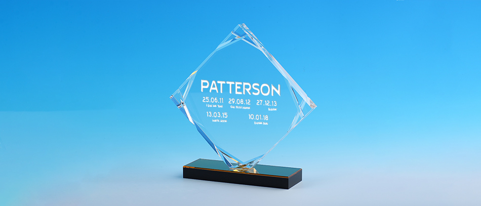 PATTERSON transparent acrylic stand award