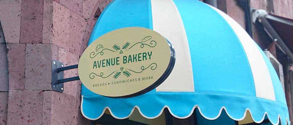 Avenue Bakery outdoor aluminum logo sign - Front Signs