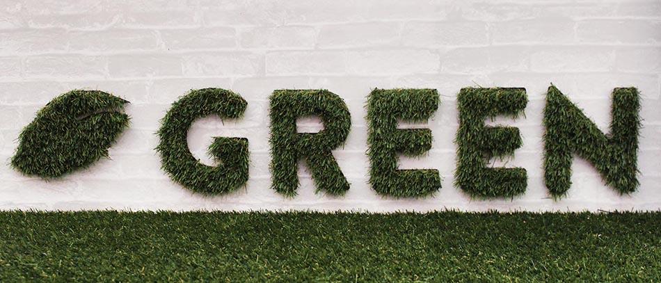 GREEN artifical ornamental grass sign