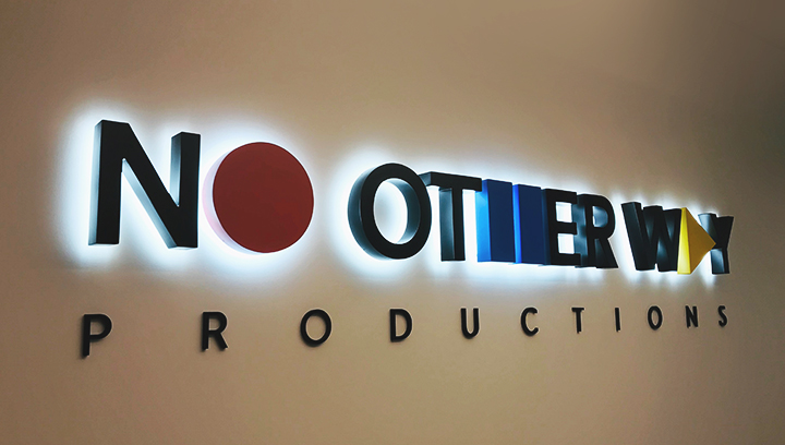 No Other Way Production illuminated channel letters in different colors made of acrylic and aluminum for interior branding