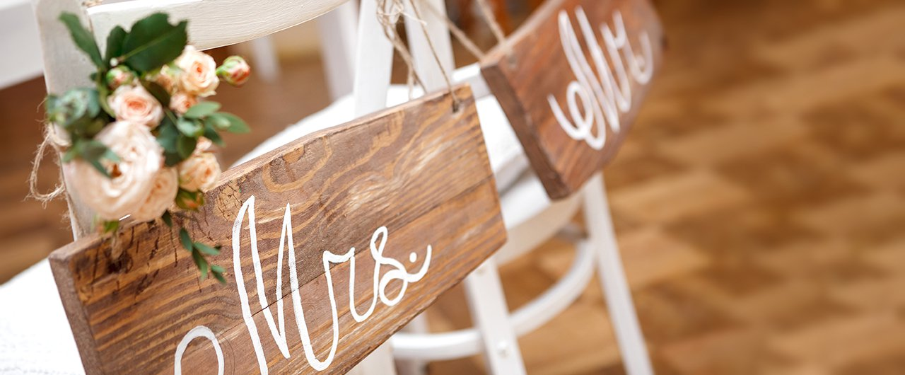 Mr & Mrs marriage hanging decor with wooden layout 2
