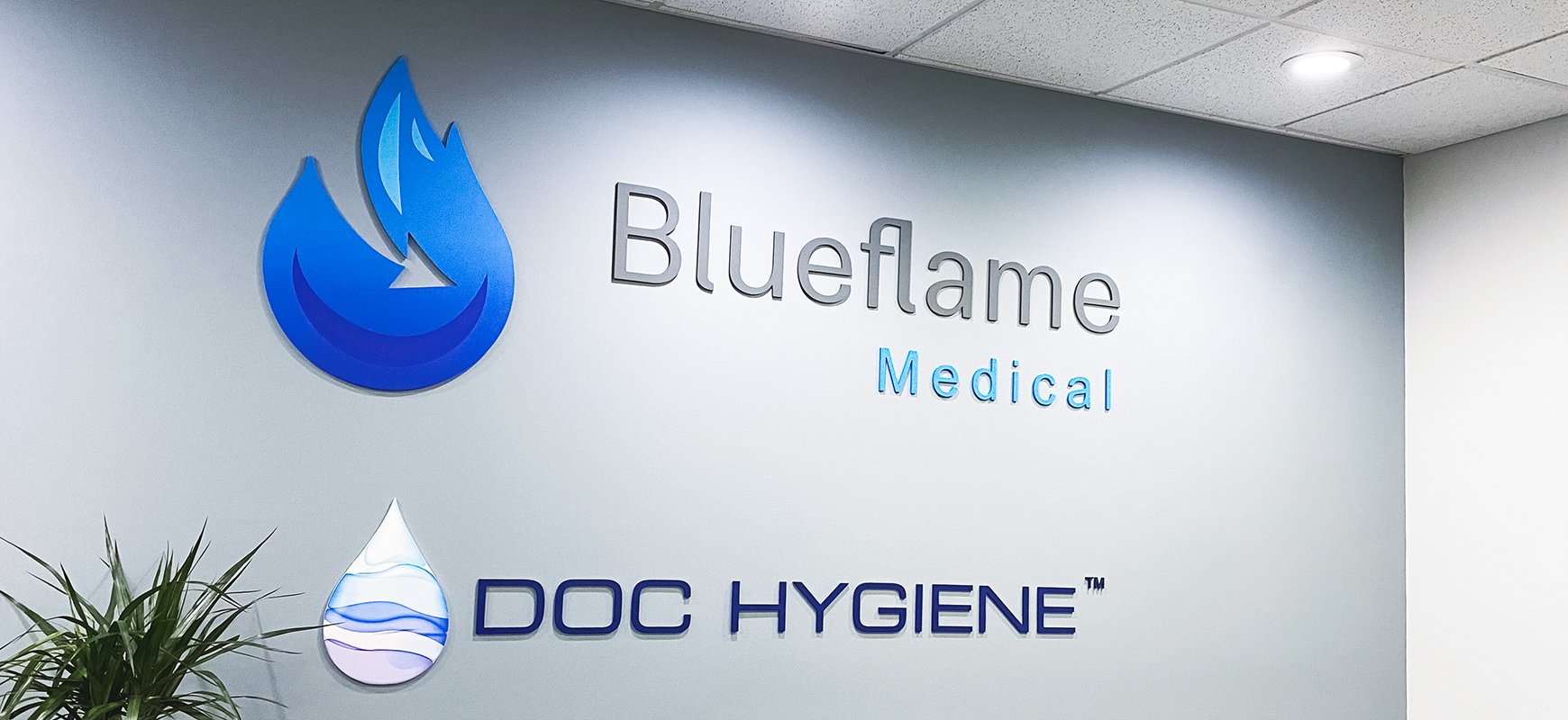 Blueflame Medical interior business sign with brand name 3D letters and the company logo made of aluminum for office branding