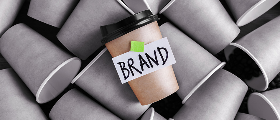 Brand name design on coffee cup