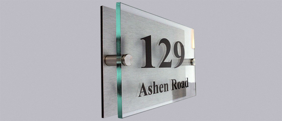 129 Ashen road brushed aluminum ft glass office sign - Front Signs