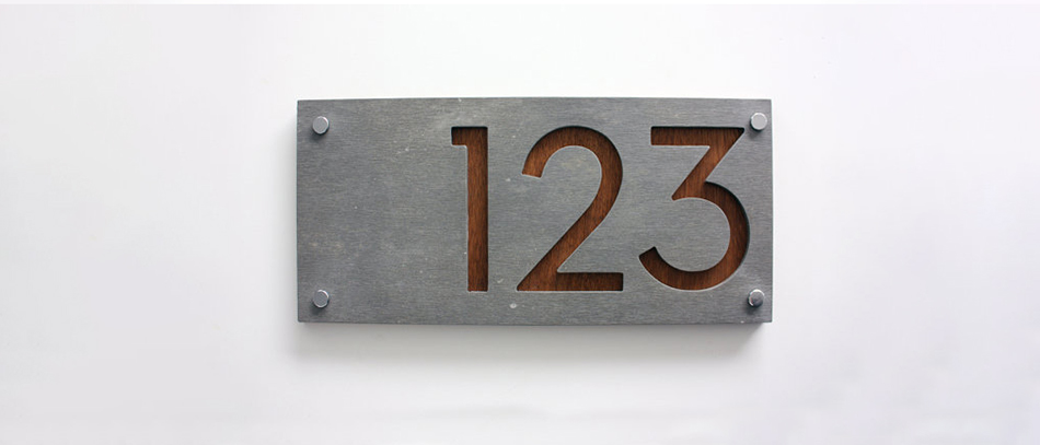 modern house number plates from brushed aluminum ft wood materials