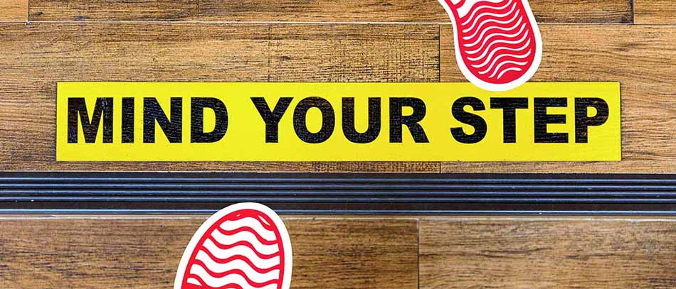 foot step custom floor decal - Front Signs
