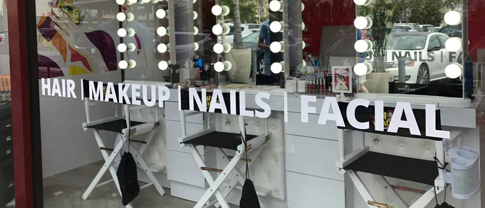 beauty salons window vinyl lettering - Front Signs