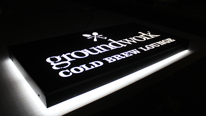 Groundwork Cold Brew Lounge dual lit light box sign made of aluminum and acrylic