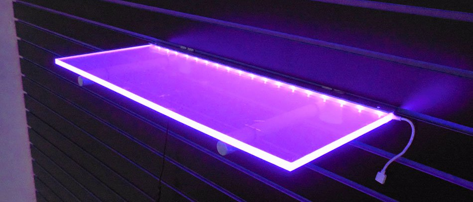 pink lit frosted acrylic shelve