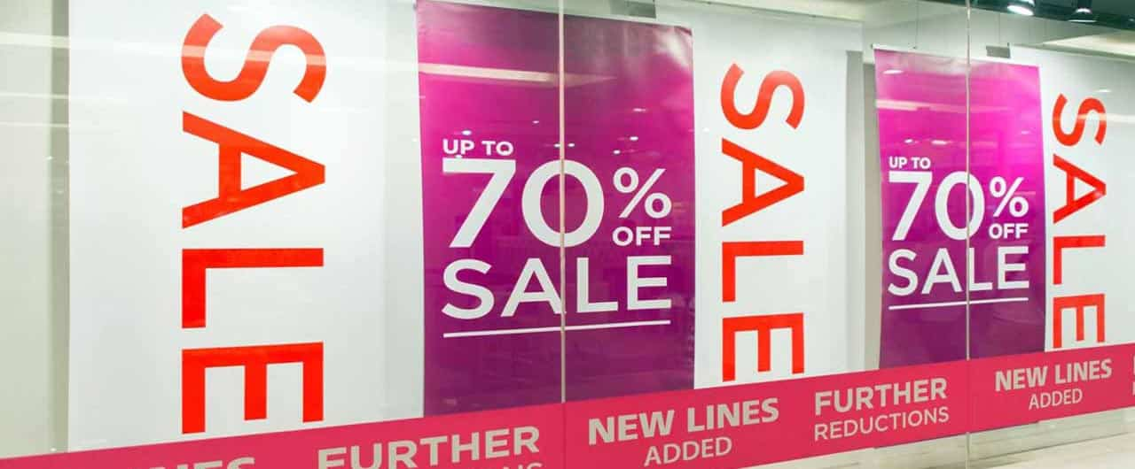 70% sale custom sign for retail store