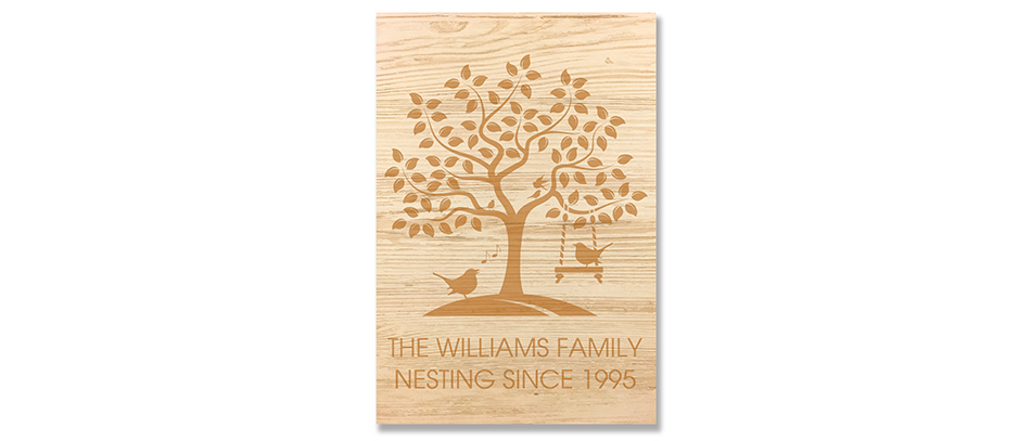 The Williams Family tree wall decal engraved on wood