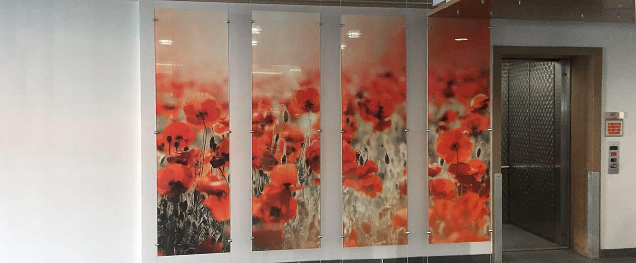 window graphycs with red flowers on acrylic print