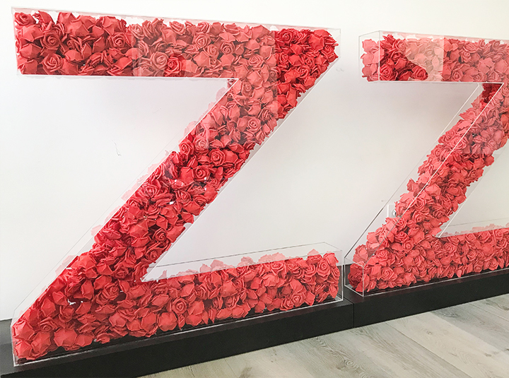 free standing 3d acrylic letters filled with artificial red roses