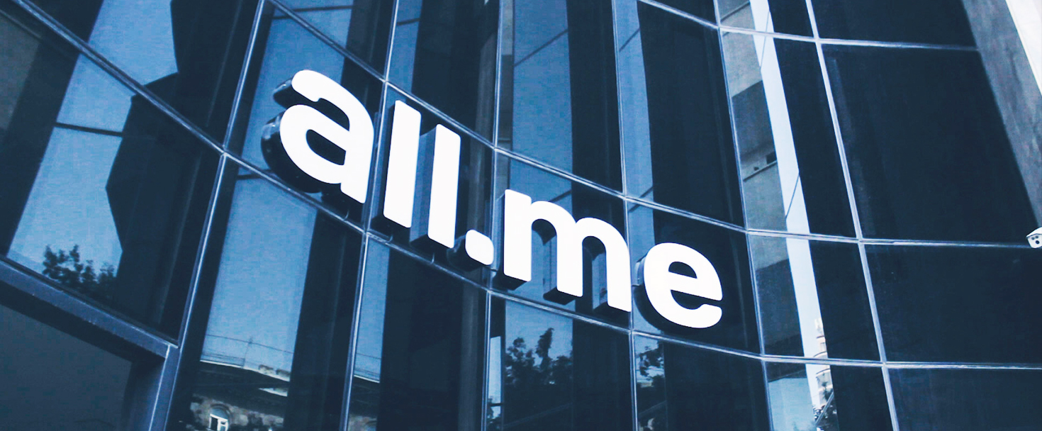 All.me front lit channel letters displaying the company name made of aluminum and acrylic for business outdoor visibility