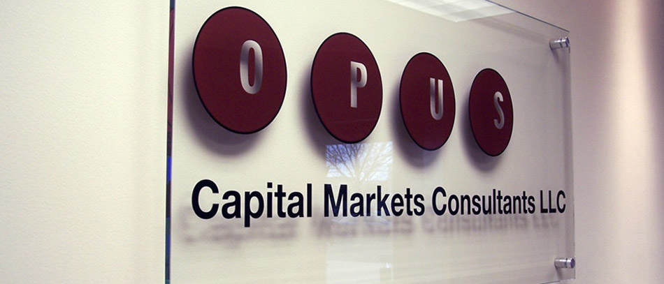 OPUS frosted glass office sign