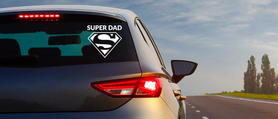 superdad sticker on car