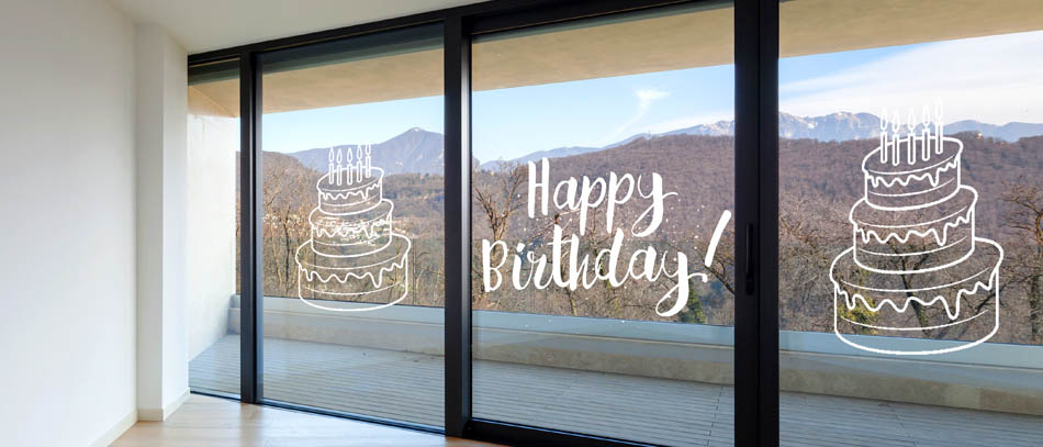 cake shaped transparent birthday cling on window