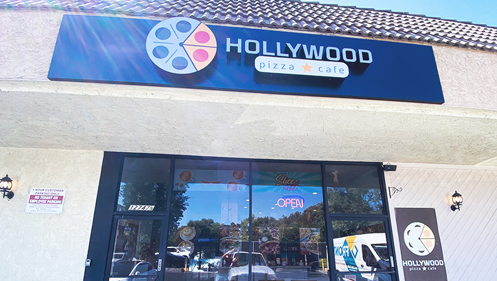 The Hollywood Cafe outdoor light box signs made of aluminum and acrylic for branding