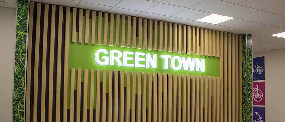 GREEN TOWN green background illumnated channel letters - Front Signs
