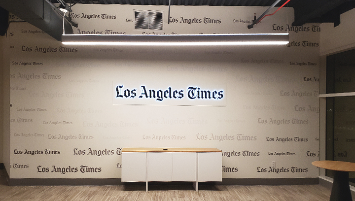 LA Times office channel letters displaying the company name made of opaque vinyl, aluminum and acrylic for interior branding