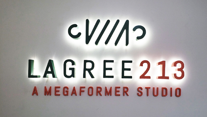 Lagree 213 illuminated interior sign made of aluminum and acrylic for custom indoor branding
