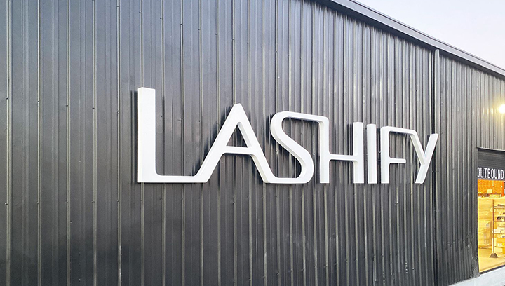 Lashify trimless channel letters in white color displaying the company name made of aluminum and acrylic for brand visibility