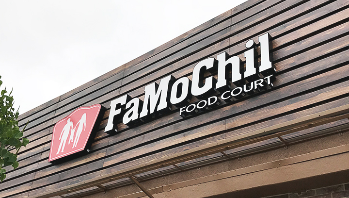 FamoChil Food Court channel letter sign fixed with direct mounting made of acrylic and aluminum for restaurant branding