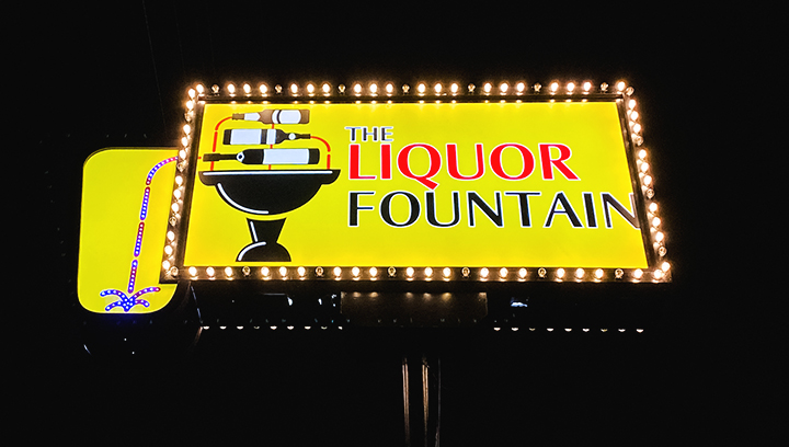 The Liquor Fountain store inner and outer lighted box sign made of aluminum and acrylic
