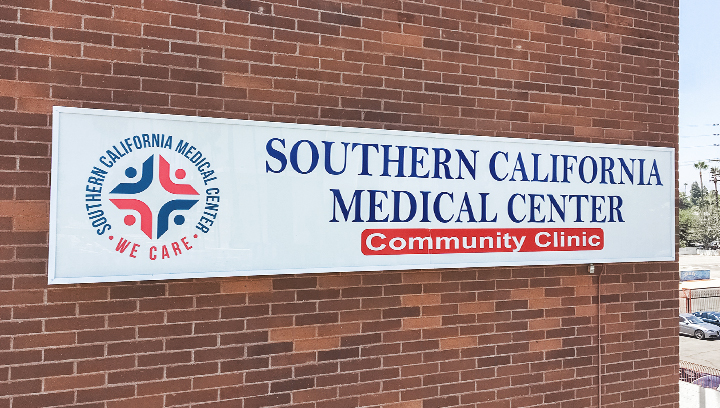 Southern California Medical Center wall mounted light box sign made of aluminum and acrylic