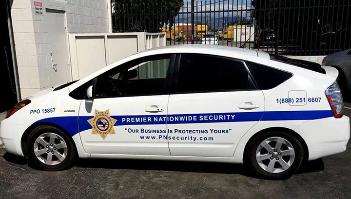 Premier Nationwide Security car graphics made of opaque vinyl