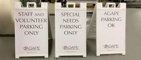 parking white background a-frame sign - Front Signs