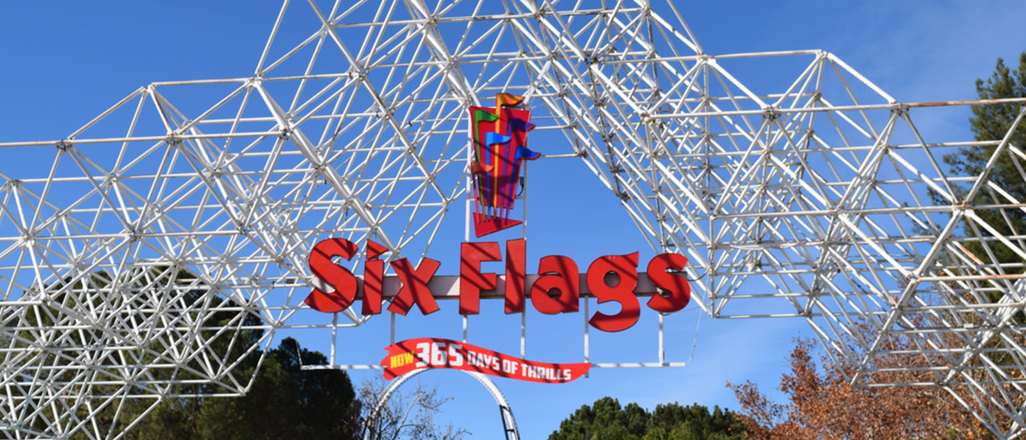 six flags channel letters and logo