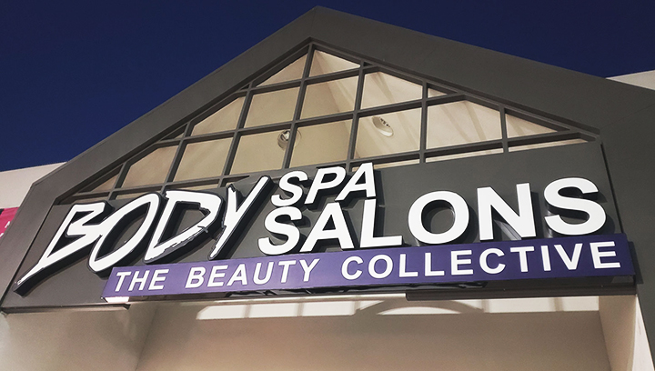 Body Spa Salons self-care center channel letters with the company name made of aluminum and acrylic for business visibility