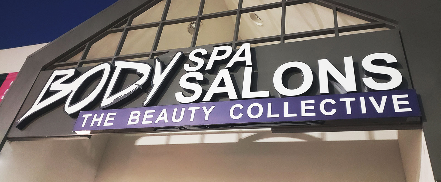 Body Spa Salons illuminated channel letters displaying the company name made of aluminum and acrylic for business visibility