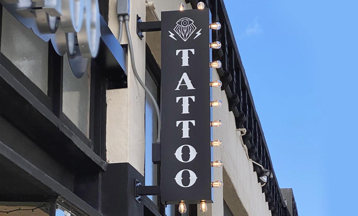 Tattoo salon custom light box with light bulbs, made of aluminum and acrylic