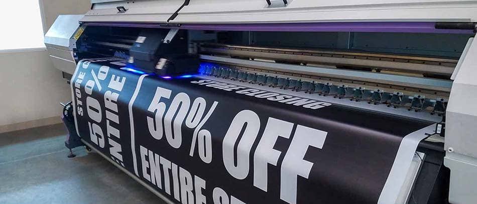 50% off black backgrounf vinyl banner printing - Front Signs 2