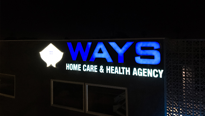 Ways Home Care & Health Agency outdoor channel letters made of aluminum and acrylic for business night-time visibility