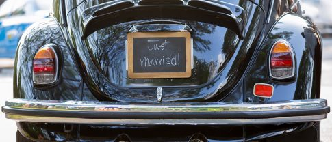 Just married chalkboard car sign