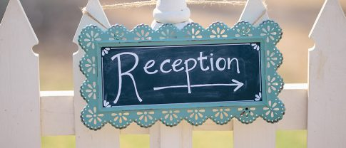 reception directional chalckboard hanging sign