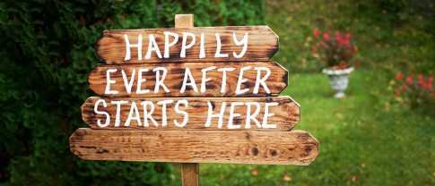 Happily ever after woody yard sign