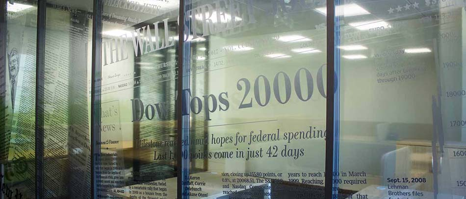DOWN TOPS frosted window decals - Front Signs