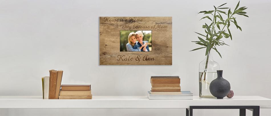 Kate & Ann wood frame home decor on wall